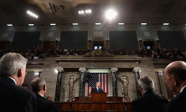 U.S. President Donald Trump, center, delivers a State of the Union address to a joint session of Congress at the U.S. Capitol in Washington, D.C., on Jan. 30, 2018.  (Photo: Win McNamee/Pool via Bloomberg/Getty Images)