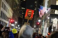 Demonstrators take part in a Justice for George Floyd protest, in New York