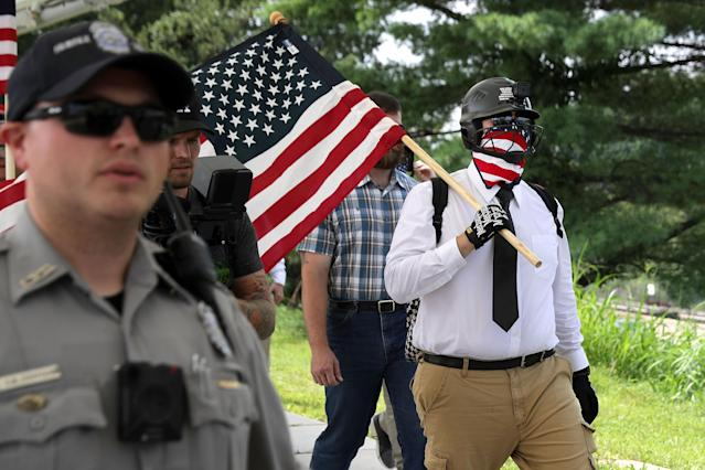 "<p>Counter-demonstrators and police gather at the Vienna/Fairfax – GMU Metro Station in anticipation of the arrival of the white supremacist Unite the Right participants who plan to gather at the station before traveling to the White House August 12, 2018 in Vienna, Virginia. Thousands of protesters are expected to demonstrate against the ""white civil rights"" rally in Washington, which was planned by the organizer of last yearÕs deadly rally in Charlottesville, Virginia. (Photo: Chip Somodevilla/Getty Images) </p>"