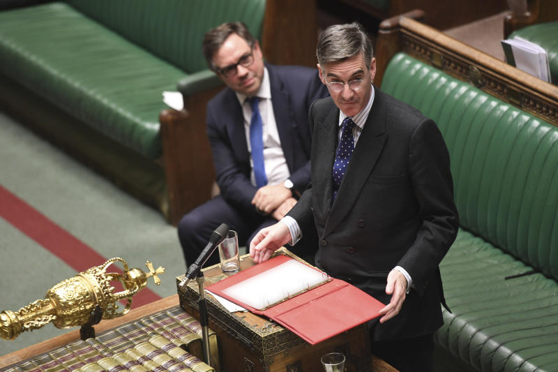 Pro-Brexit lawmaker, Leader of the House of Commons Jacob Rees-Mogg, speaks during the Brexit debate inside the House of Commons in London Saturday Oct. 19, 2019. At the rare weekend sitting of Parliament, Prime Minister Boris Johnson implored legislators to ratify the Brexit deal he struck this week with the other 27 EU leaders. Lawmakers voted Saturday in favour of the 'Letwin Amendment', which seeks to avoid a no-deal Brexit on October 31. (Jessica Taylor/House of Commons via AP)