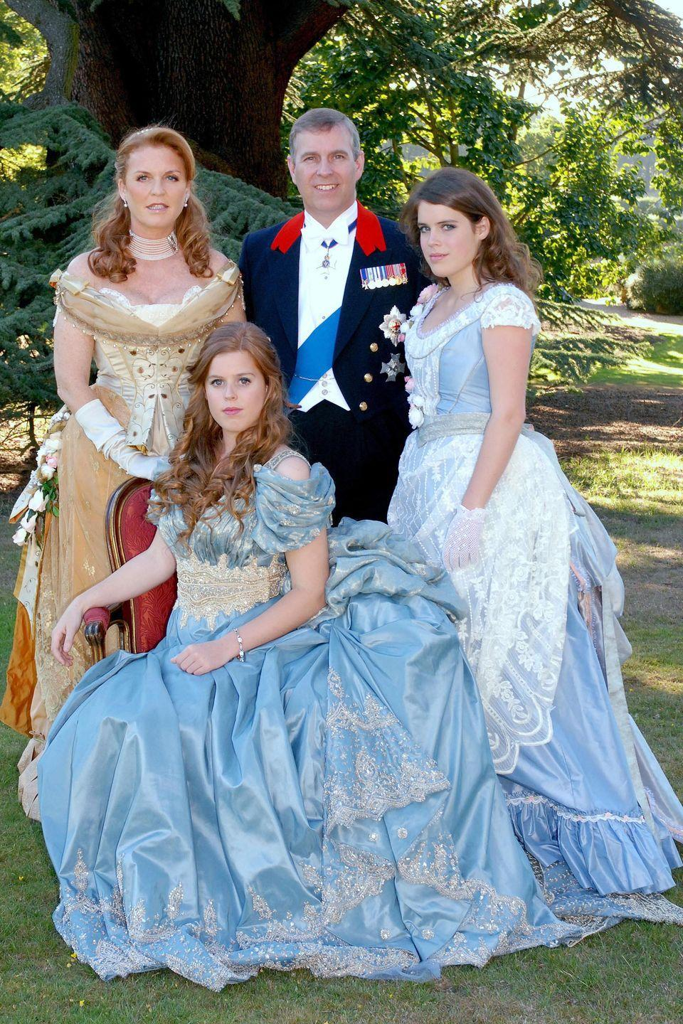 <p>Sarah Ferguson, Prince Andrew, Princess Beatrice, and Princess Eugenie dressed in Disney-inspired prince and princess costumes. </p>
