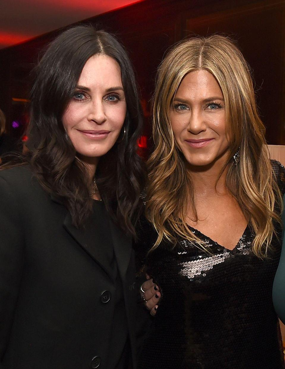 """<p><strong>""""</strong>We just have fun, we laugh, we're inseparable and it's great. Jennifer has been amazing for sure."""" — Courteney Cox, <em><a href=""""https://www.accessonline.com/articles/courteney-cox-talks-separation-with-david-arquette-relying-on-jennifer-aniston-92292#jF2KOFx0kZugg5UD.99"""" rel=""""nofollow noopener"""" target=""""_blank"""" data-ylk=""""slk:Access"""" class=""""link rapid-noclick-resp"""">Access</a></em></p><p>""""There's absolutely no judgment in Court. You'll never feel scolded. She's extremely fair, ridiculously loyal, and fiercely loving...Without giving away too much of my private stuff, all I can say is she's been there for me through thick and thin."""" — Jennifer Aniston, <em><a href=""""https://www.usmagazine.com/celebrity-news/news/jennifer-aniston-praises-friend-courteney-cox-shes-been-there-for-me-through-thick-and-thin-2014281/?utm_source=popsugar.com&utm_medium=referral&utm_campaign=pubexchange_article"""" rel=""""nofollow noopener"""" target=""""_blank"""" data-ylk=""""slk:Us Weekly"""" class=""""link rapid-noclick-resp"""">Us Weekly</a></em></p>"""