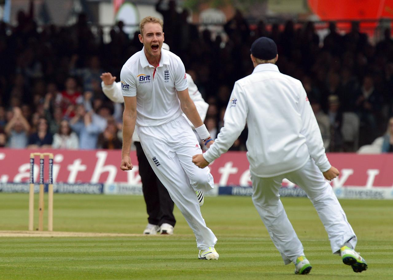 England's Stuart Broad celebrates taking the wicket of New Zealand's Ross Taylor for 0 during the first test at Lord's Cricket Ground, London.