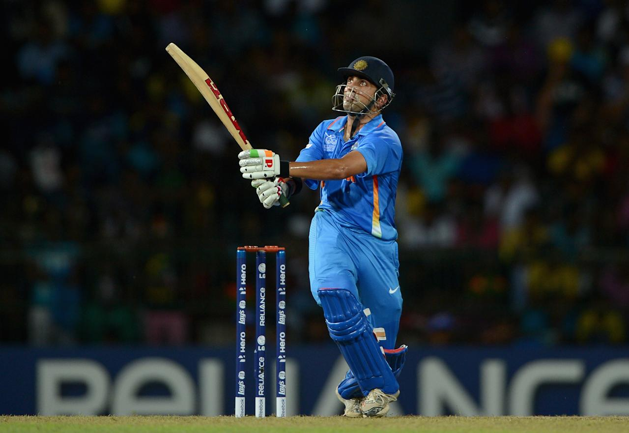 COLOMBO, SRI LANKA - SEPTEMBER 23:  Gautam Gambhir of India bats during the  ICC World Twenty20 2012 Group A match between England and India at R. Premadasa Stadium on September 23, 2012 in Colombo, Sri Lanka.  (Photo by Gareth Copley/Getty Images)