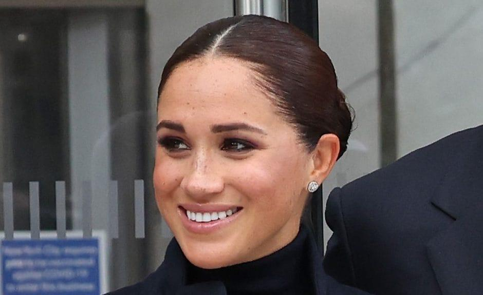 The Duchess of Sussex wore the £12,000 Cartier diamond stud earrings during a visit to One World Observatory - Taylor Hill/WireImage