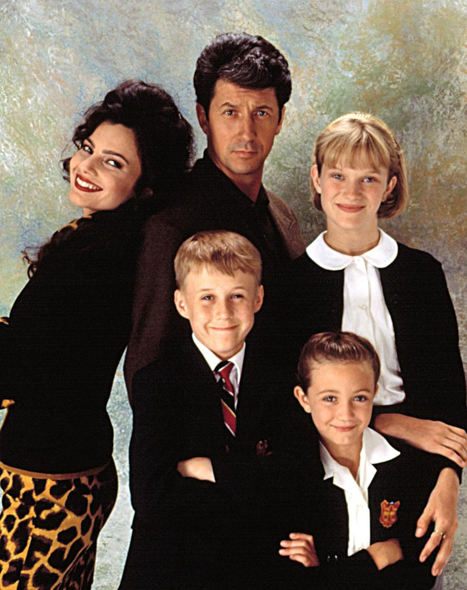 'The Nanny' regular cast, clockwise from top left: Fran Drescher, Charles Shaughnessy, Nicholle Tom, Madeline Zima and Benjamin Sailsbury - Credit: Everett Collection