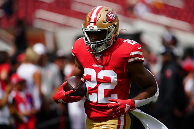 Matt Breida of the San Francisco 49ers got up to an amazing speed on a TD run. (Getty Images)