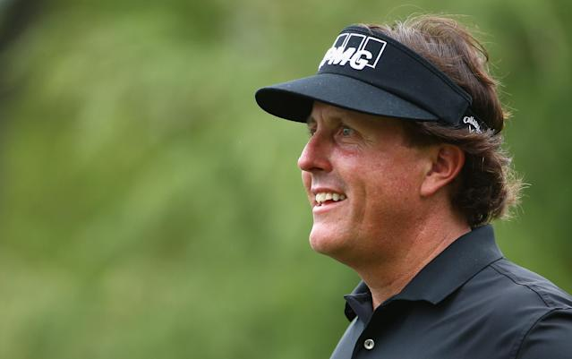 CHARLOTTE, NC - APRIL 30: Phil Mickelson watches on during the pro-am at Quail Hollow Club on April 30, 2014 in Charlotte, North Carolina. (Photo by Streeter Lecka/Getty Images)