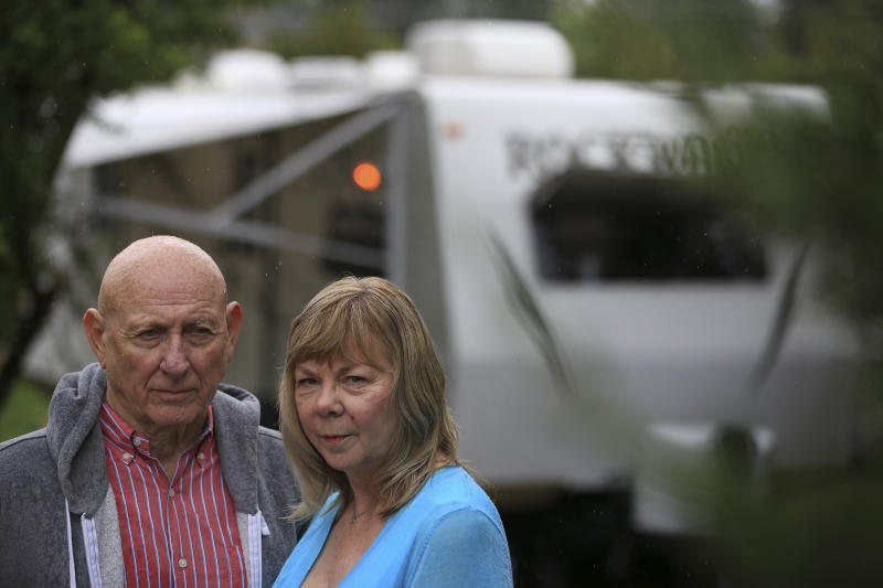Lonnie, left, and Sandy Phillips drove to Colorado to spend the summer at the courthouse where James Holmes stood trial. He was accused of fatally shooting Phillips's daughter, Jessica Ghawi, and 11 others in Aurora, Colorado in 2015.   Matthew Staver—The New York Times/Redux