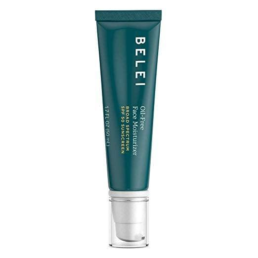 """<p>Belei offers a great <a href=""""https://www.popsugar.com/buy/Oil-Free-Face-Moisturizer-UVAUVB-SPF-50-Sunscreen-433400?p_name=Oil-Free%20Face%20Moisturizer%20With%20UVA%2FUVB%20SPF%2050%20Sunscreen&retailer=amazon.com&pid=433400&price=21&evar1=bella%3Aus&evar9=46158385&evar98=https%3A%2F%2Fwww.popsugar.com%2Fbeauty%2Fphoto-gallery%2F46158385%2Fimage%2F46160490%2FBelei-Oil-Free-Face-Moisturizer-UVAUVB-SPF-50-Sunscreen&list1=beauty%20products%2Cspf%2Csunscreen%2Cmoisturizer%2Csummer%20beauty%2Cface%20cream%2Cbeauty%20trends%2Cskin%20care&prop13=mobile&pdata=1"""" class=""""link rapid-noclick-resp"""" rel=""""nofollow noopener"""" target=""""_blank"""" data-ylk=""""slk:Oil-Free Face Moisturizer With UVA/UVB SPF 50 Sunscreen"""">Oil-Free Face Moisturizer With UVA/UVB SPF 50 Sunscreen</a> ($21) that is dermatologist-tested and completely cruelty-free. Another perk? It's available on Amazon Prime, so it will arrive at your doorstep in no time.</p>"""