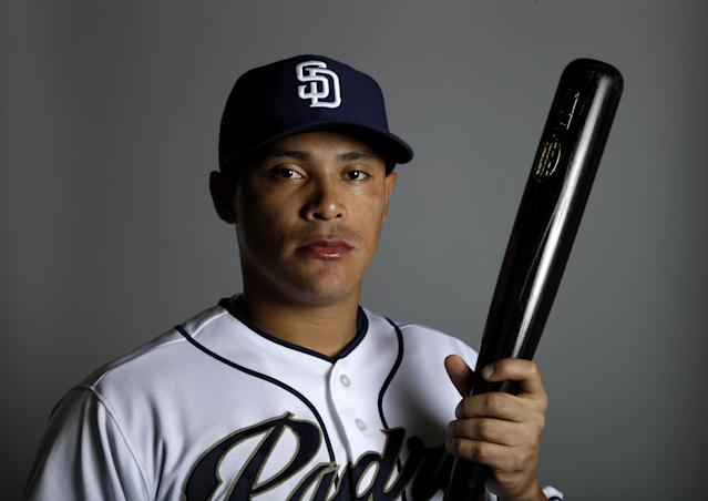 This is a 2014 photo of Everth Cabrera of the San Diego Padres baseball team. This image reflects the Padres active roster as of Friday, Feb. 21, 2014, when this image was taken. (AP Photo/Tony Gutierrez)
