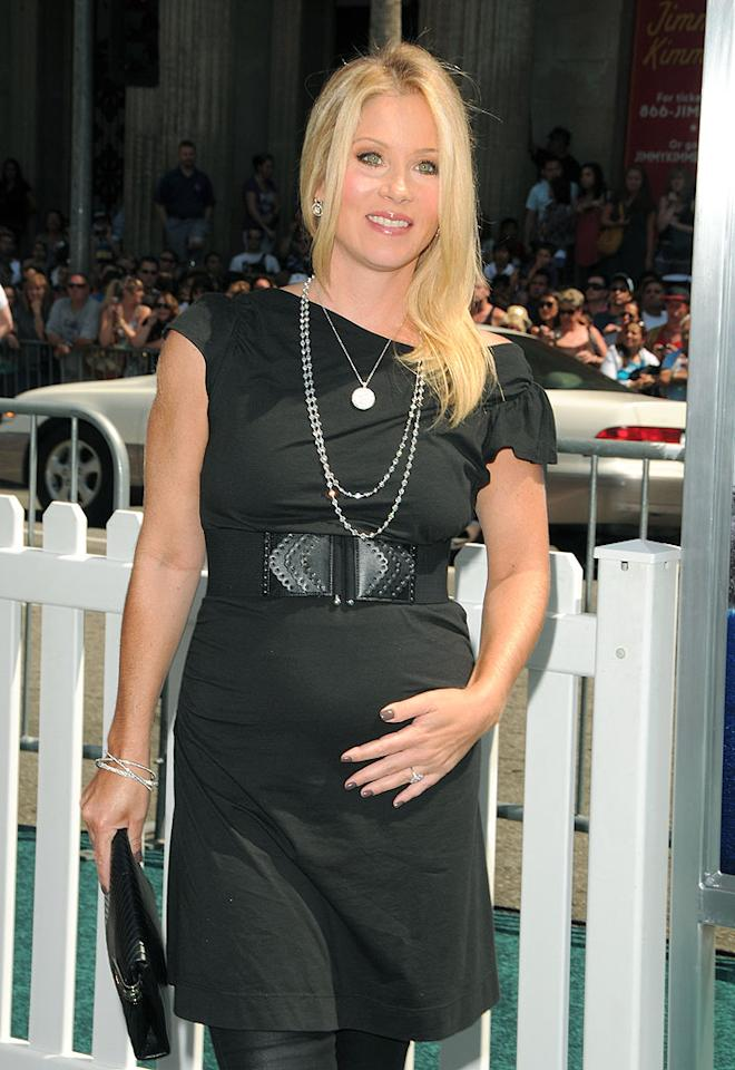 "Christina Applegate rocked a brand new silhouette at the premiere of her animated film ""Cats and Dogs: The Revenge of Kitty Galore"" Sunday. Encountering baby bump styling issues, the star tweeted, ""Who are these women who can wear a short dress while pregnant? Seriously congrats ladies, cuz it aint gonna happen over here. Yikes!"" Jordan Strauss/WireImage.com To license this image (61147958), contact WireImage.com"