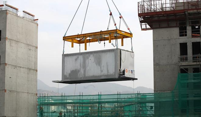 The prefabricated units, stacked like Lego blocks, allow the buildings to go up in just 18 months, five months to a year faster than normal. Photo: Winson Wong