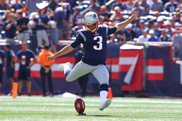 "There have been some uncharacteristic misses thus far this season for the <a class=""link rapid-noclick-resp"" href=""/nfl/teams/new-england/"" data-ylk=""slk:Patriots"">Patriots</a> kicker. (Photo by Rich Graessle/Icon Sportswire via Getty Images)"