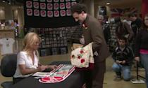 "<p>""F**k! F**king s**t!""<br>This might be Pamela Anderson's finest performance as she reacts to Sacha Baron Cohen's Kazakh journalist's kidnap attempt of her. She and her team were in on it but the rest of the store, like most of the people in the movie, weren't. A for effort, Pammy. </p>"