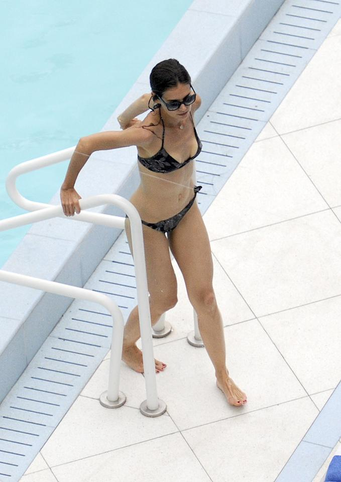 "Speaking of Tom Cruise, his wife, Katie Holmes, has been making sure to fit in plenty of pool time while her hubby's hard at work on the ""Rock of Ages"" set. <a href=""http://www.infdaily.com"" target=""new"">INFDaily.com</a> - July 17, 2011"