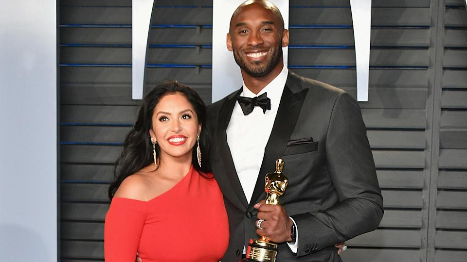 Vanessa and Kobe Bryant are pictured at the 2018 Vanity Fair Oscar Party in Beverly Hills, California. (Photo by Dia Dipasupil/Getty Images)