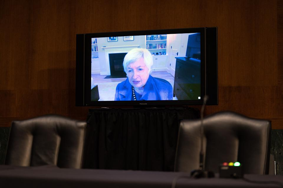 Janet Yellen, President-elect Joe Bidens nominee for Secretary of the Treasury, participates remotely during a hearing, as she participates in a Senate Finance Committee hearing in Washington DC, on January 19, 2021. - Biden, who will take office on January 20, 2021, has proposed a $1.9 trillion rescue package to help businesses and families struggling amid the pandemic, and Yellen would be tasked with getting that massive bill through a Congress where some are wary of the skyrocketing budget deficit. (Photo by Anna Moneymaker / POOL / AFP) (Photo by ANNA MONEYMAKER/POOL/AFP via Getty Images)