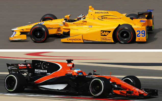 <span>Alonso's new McLaren-Andretti-Honda Indycar entry, top, could hardly be any worse than his McLaren-Honda F1 car, bottom</span> <span>Credit: Michael Conroy/Clive Mason/AP Photo/Getty </span>