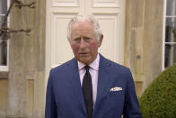 "In this grab taken from video, Britain's Prince Charles addresses the media, outside Highgrove House in Gloucestershire, England, Saturday, April 10, 2021. Britain's Prince Charles says the royal family are ""deeply grateful'' for the outpouring of support they've received following the death of his father, Prince Philip. In a statement to the nation, the heir to the throne says he's touched by the number of people around the world who have shared the family's loss and sorrow. (UK Pool via AP)"