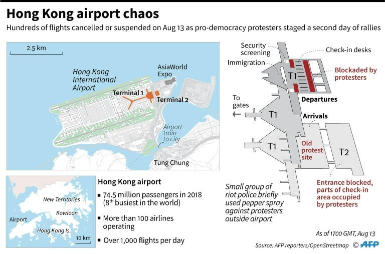 Map of the Hong Kong airport showing areas blocked or occupied by pro-democracy protesters, as of August 13. (AFP Photo/Gal ROMA)