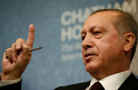 The President of Turkey Recep Tayyip Erdogan speaks at Chatham House in central London