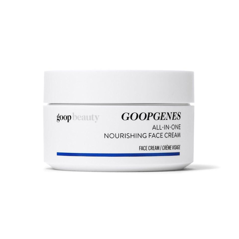 """<p><strong>Goop</strong></p><p>credobeauty.com</p><p><strong>$95.00</strong></p><p><a href=""""https://go.redirectingat.com?id=74968X1596630&url=https%3A%2F%2Fcredobeauty.com%2Fproducts%2Fgoopgenes-all-in-one-nourishing-face-cream&sref=https%3A%2F%2Fwww.thepioneerwoman.com%2Fbeauty%2Fskin-makeup-nails%2Fg33557607%2Fbest-moisturizer-for-dry-skin%2F"""" rel=""""nofollow noopener"""" target=""""_blank"""" data-ylk=""""slk:Shop Now"""" class=""""link rapid-noclick-resp"""">Shop Now</a></p><p>Hydrating? Check. Nourishing? Check. Anti-aging? Check. This clinically-tested facial cream has been tested to deliver 48 hours of hydration while working to improve texture and tone well beyond that.</p>"""