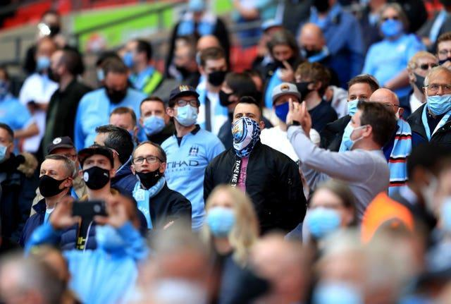 Manchester City fans at last month's Carabao Cup final