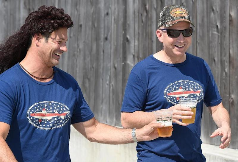 Delaware Governor Jack Markell (right) played on Team Dogfish Head with Owner Sam Calagione at the 6th Annual Beer, Bocce & BBQ Tournament at DogfishHead Brewery in Milton.