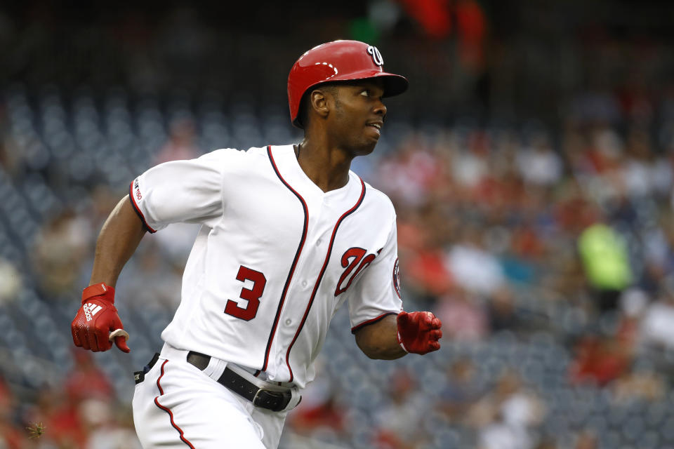 Washington Nationals' Michael A. Taylor watches his solo home run as he rounds the bases in the second inning of a baseball game against the Philadelphia Phillies, Thursday, Sept. 26, 2019, in Washington. (AP Photo/Patrick Semansky)