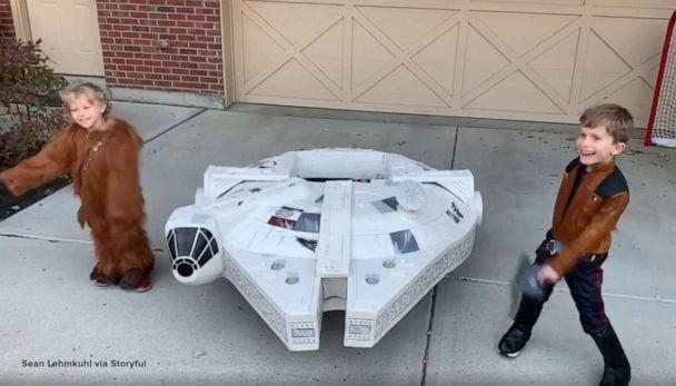 PHOTO: Diehard 'Star Wars' fan Sean Lehmkuhl spent over a month building his sons a real-life Millennium Falcon so that they can trick-or-treat in style this Halloween. (Sean Lehmkuhl via Storyful)
