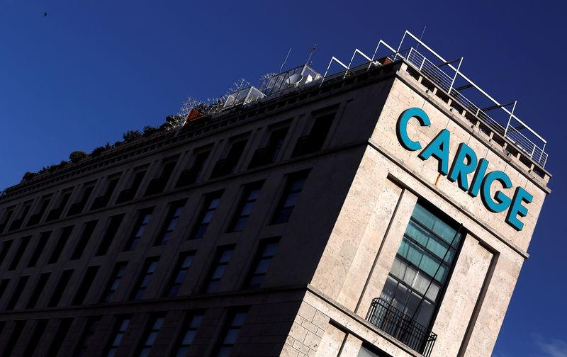FILE PHOTO: The Carige bank logo is seen in Rome