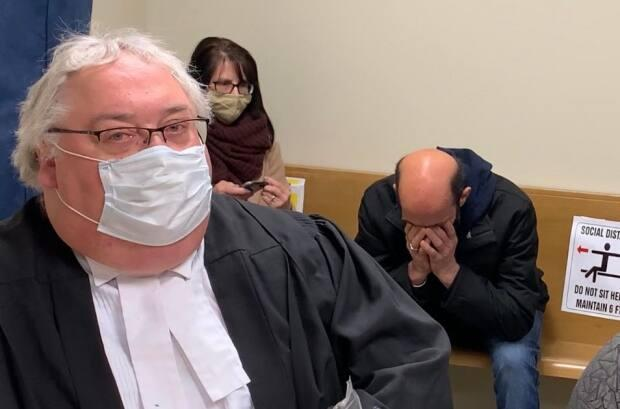 Michael Ralph, left, the defence lawyer for Harvey Murlin Price, right, objected to several claims a victim impact statement on Friday, triggering a delay in Price's case. (Ryan Cooke/CBC - image credit)