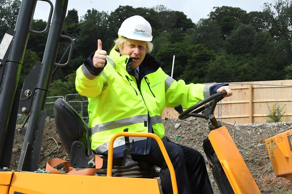 Boris Johnson at a building site in Dudley on June 30 (Photo: POOL New / Reuters)