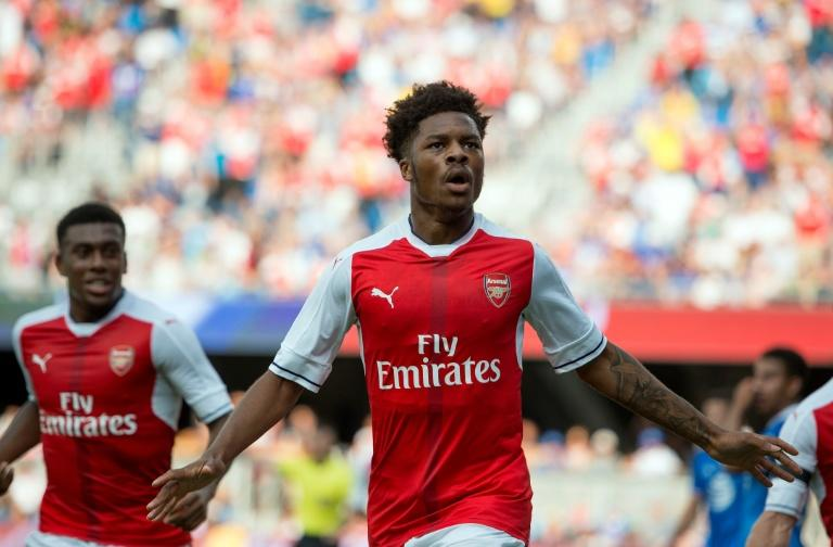 Arsenal's Chuba Akpom celebrates after scoring a goal against the MLS All-Stars in San Jose, California on July 28, 2016