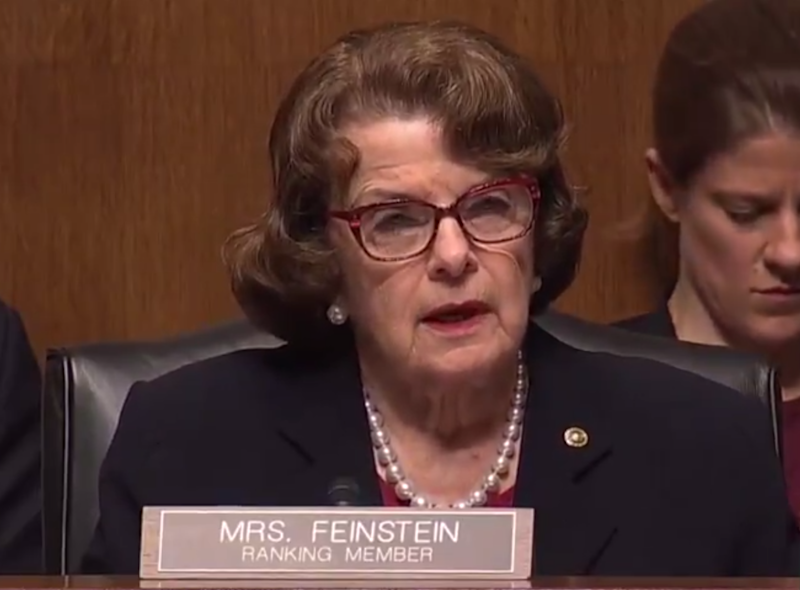 Dianne Feinstein speaking to Amy Cohen Barrett in 2017 at her hearing for the Seventh Circuit Court of Appeals. ((CSpan))
