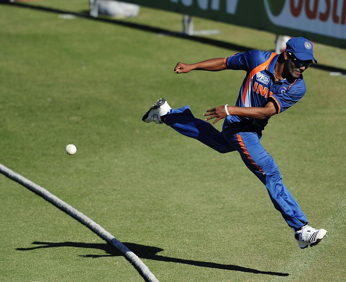 TOWNSVILLE, AUSTRALIA - AUGUST 14:  Sandeep Sharma of India fields the ball during the ICC U19 Cricket World Cup 2012 match between India and Zimbabwe at Tony Ireland Stadium on August 14, 2012 in Townsville, Australia.  (Photo by Ian Hitchcock-ICC/Getty Images)