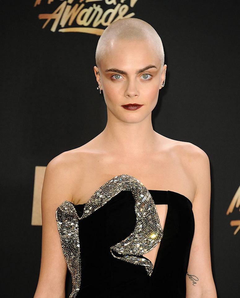 <p>It's certainly easier to pull off this look when you give good face! The model/actress shaved off all her hair for her role in the upcoming film <em>Life in a Year</em>, which she'll star in with Jaden Smith. (Photo: Jason LaVeris/FilmMagic) </p>