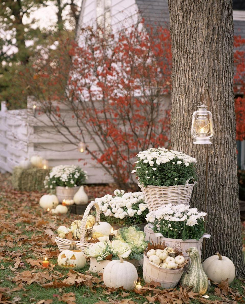 <p>Spooky black-and-orange decorations aren't your thing? Try this pretty alternative: Place white chrysanthemums and ornamental cabbage in cream-colored apple baskets on your front lawn, and surround with white pumpkins and gourds. (Note: For a similar look minus the danger, lanterns and jack-o'-lanterns should always be lit with battery-operated lights, like these LED votives.) </p>
