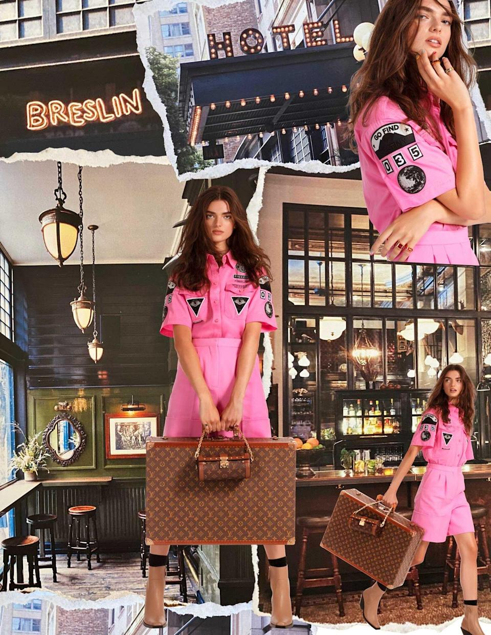 Model wearing a pink short flightsuit, superimposed over photos of the Ace Hotel New York