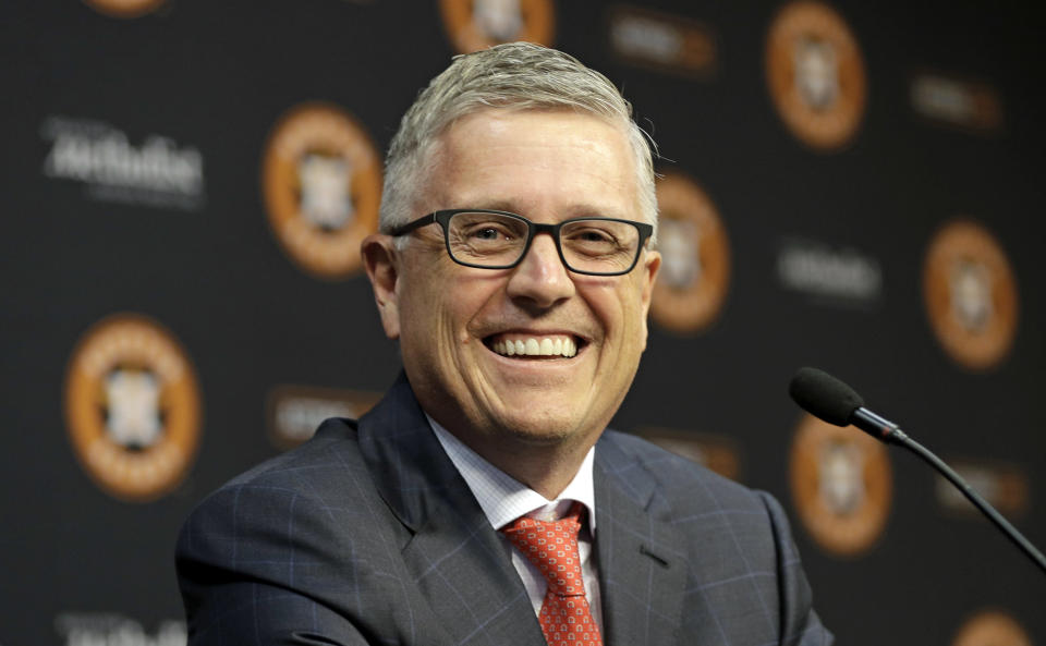 Jeff Luhnow explained away why the Astro's zero-tolerance policy didn't include what Roberto Osuna allegedly did as a Toronto Blue Jay. (AP)