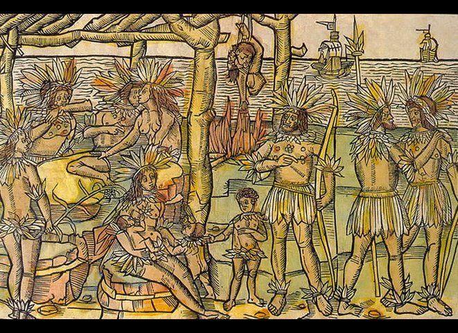 """In the early 1500s, European explorers documented cannibalistic rituals among various native tribes in the Americas. (Photo: depiction of cannibalism in the Americas, attributed to Italian explorer <a href=""""http://books.google.com/books?id=qd1cL6KPZzAC&pg=PA83&lpg=PA83&dq=vespucci+and+cannibalism&source=bl&ots=G3NlmLt4aO&sig=EONwYzF4MzppbPSWGHM9QKgt3ts&hl=en&sa=X&ei=wFqpT9PSLemQiALDnIy5Ag&ved=0CFwQ6AEwBw#v=onepage&q=vespucci and cannibalism&f=false"""" target=""""_hplink"""">Amerigo Vespucci</a>)."""