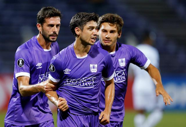 Soccer Football - Defensor Sporting v Monagas - Copa Libertadores - Luis Franzini Stadium, Montevideo, Uruguay - April 17, 2018. Defensor Sporting's Matias Cabrera celebrates after scoring. REUTERS/Andres Stapff