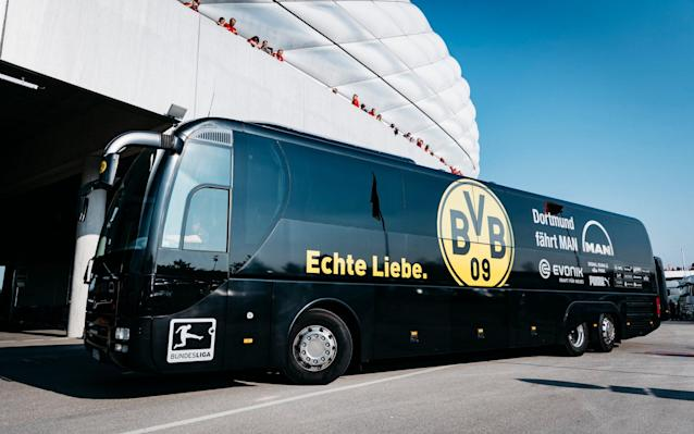 <span>The team bus of Borussia Dortmund arrives prior to the Bundesliga match between Bayern Muenchen and Borussia Dortmund at Allianz Arena on April 8, 2017</span> <span>Credit: Alexander Scheuber/Getty  </span>