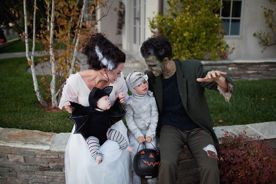 """<p>There are so many different variations on this costume, but it's so much fun! Frankenstein, Mrs. Frankenstein, a mummy, and a tiny bat round out this not-so-scary group costume idea. </p><p><strong><strong>Get the tutorial at </strong><a href=""""https://tellloveandparty.com/2014/10/tell-monster-family-costume-diy.html"""" rel=""""nofollow noopener"""" target=""""_blank"""" data-ylk=""""slk:Tell Love and Party"""" class=""""link rapid-noclick-resp"""">Tell Love and Party</a>.</strong></p><p><a class=""""link rapid-noclick-resp"""" href=""""https://www.amazon.com/Nu-Source-Inc-100-ACRYLIC-FELT-1281/dp/B001THXM6C/ref=sr_1_7?dchild=1&keywords=black+felt&qid=1592331495&sr=8-7&tag=syn-yahoo-20&ascsubtag=%5Bartid%7C10050.g.21600836%5Bsrc%7Cyahoo-us"""" rel=""""nofollow noopener"""" target=""""_blank"""" data-ylk=""""slk:SHOP BLACK FELT"""">SHOP BLACK FELT</a></p>"""