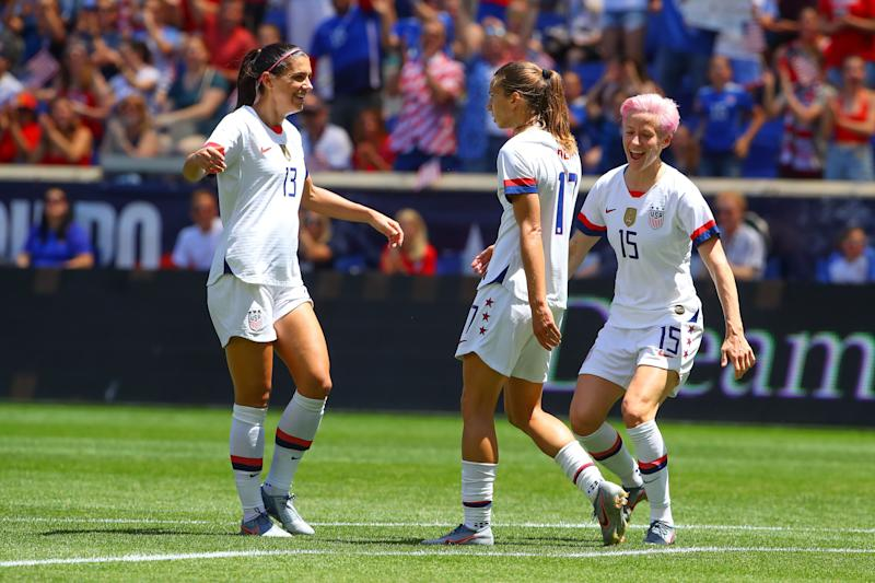 HARRISON, NJ - MAY 26: United States of America midfielder Tobin Heath (17) celebrates after scoring during the first half of the Womens soccer game between the United States of America versus Mexico Womens Soccer game at Red Bull Arena on May 26, 2019 in Harrison, NJ. (Photo by Rich Graessle/Icon Sportswire via Getty Images)