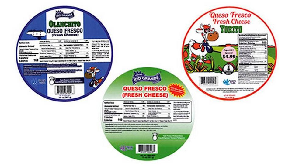 The labels for recalled Rio Grande Queso Fresco, Queso Fresco Yorito and Queso Fresco Olancho
