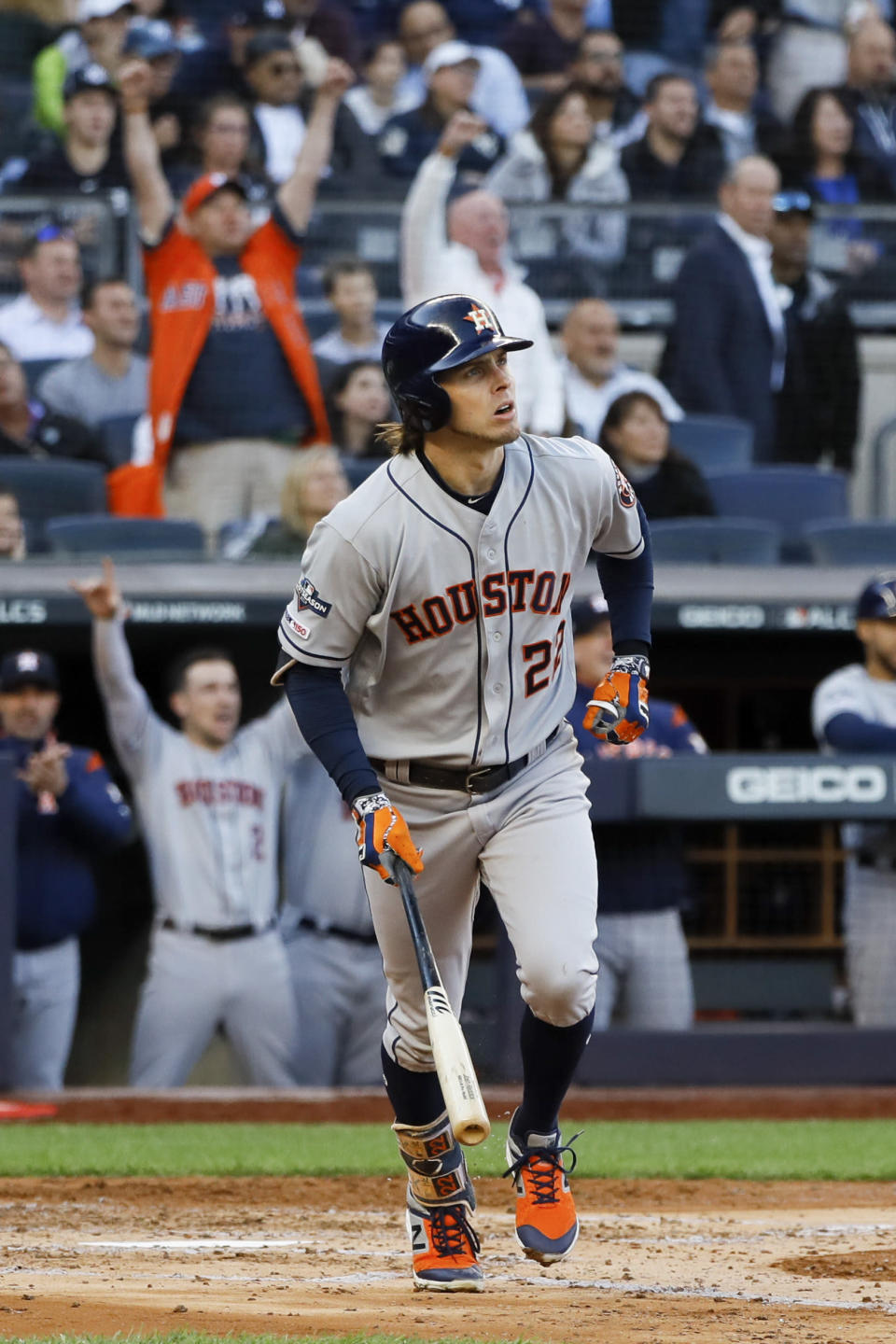 Houston Astros' Josh Reddick watches his home run against the New York Yankees during the second inning in Game 3 of baseball's American League Championship Series Tuesday, Oct. 15, 2019, in New York. (AP Photo/Matt Slocum)