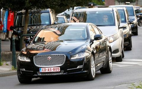 <span>The car believed to be carrying Britain's Secretary of State for Exiting the EU Raab arrives at the EU Commission headquarters in Brussels</span> <span>Credit: Reuters </span>
