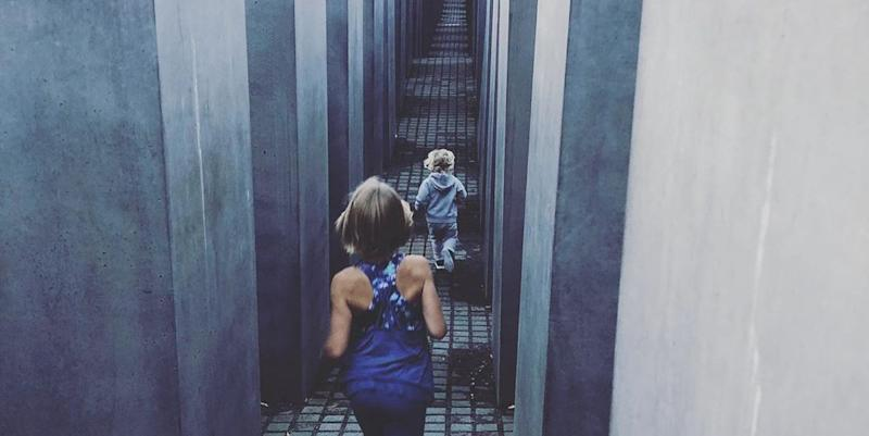 Singer Pink defends photo of her children running through Holocaust memorial